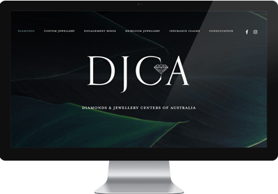 web mockup DJCA home black monitor full